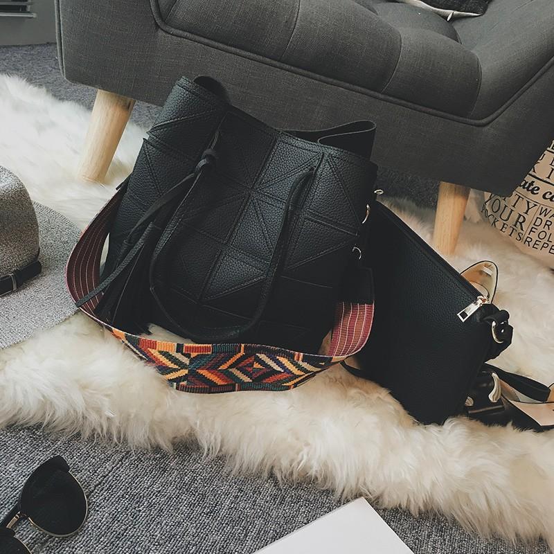 拼接子母水桶包寬肩帶大容量包包2016  單肩包女包