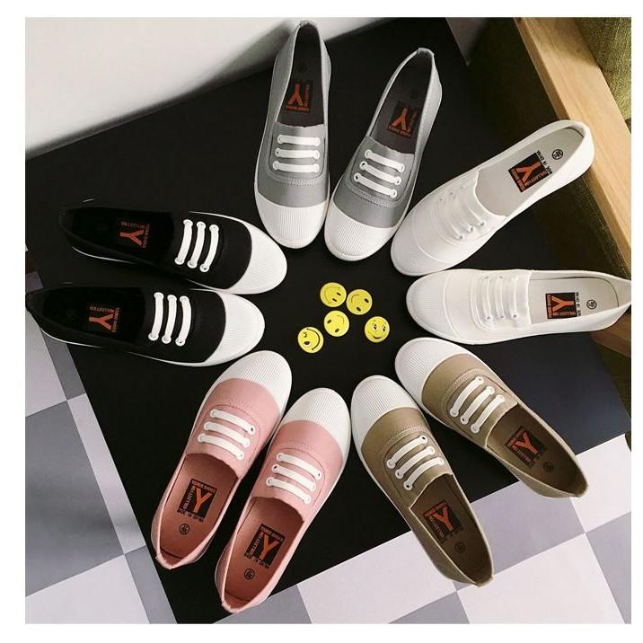 599 ~到2 12 ~ 一腳蹬懶人鞋小白鞋帆布鞋白色板鞋平底樂福鞋休閒女鞋