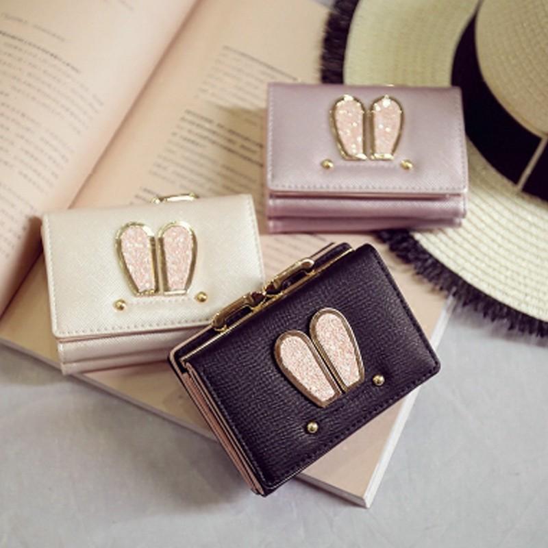 ❤ 女包包2016 时尚短款女锁扣钱包日韩可爱亮片兔耳朵潮流手拿包