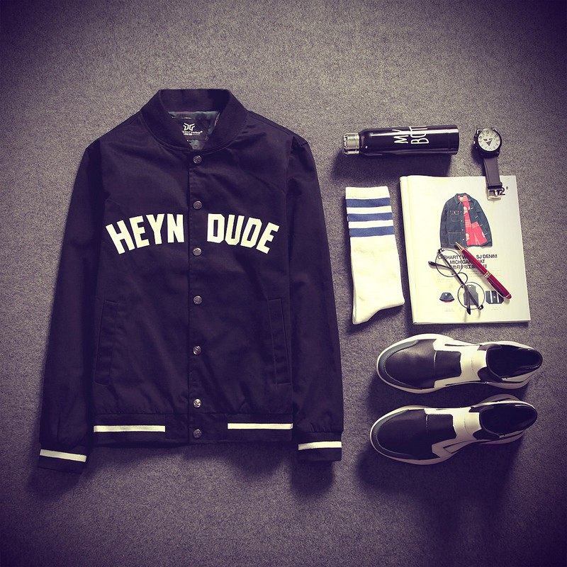 男士外套夾克男加肥加大碼棒球衫修身印花夾克衫潮流jacket 連帽外套棒球外套西裝外套針織