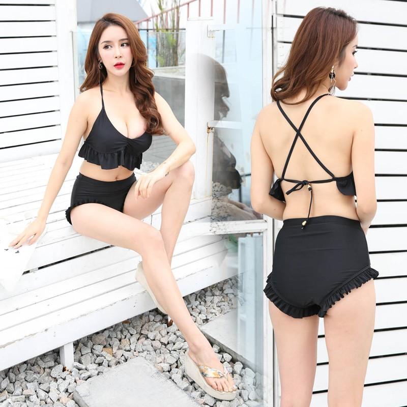泰國復古高腰遮肚木耳邊露背性感比基尼泳衣小胸聚攏鋼圈比基尼