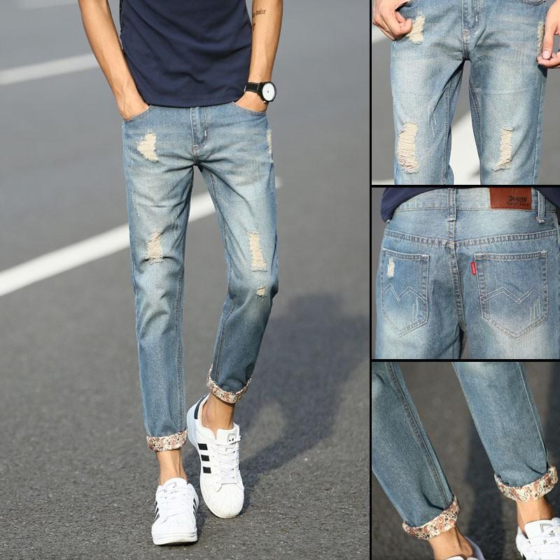 修身牛仔破洞九分褲磨白小腳9 分褲百搭夏款男牛仔褲