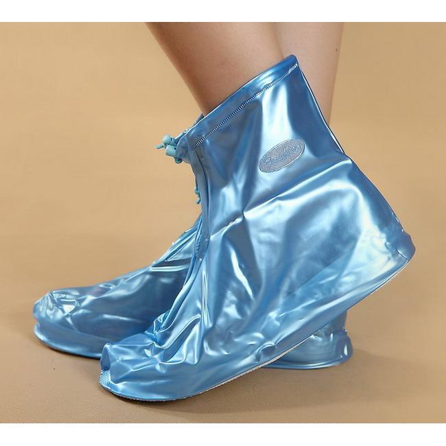 ✩阿白小舖✩TR6L 防雨鞋套平跟 防水鞋套加厚防滑男女士雨靴藍色