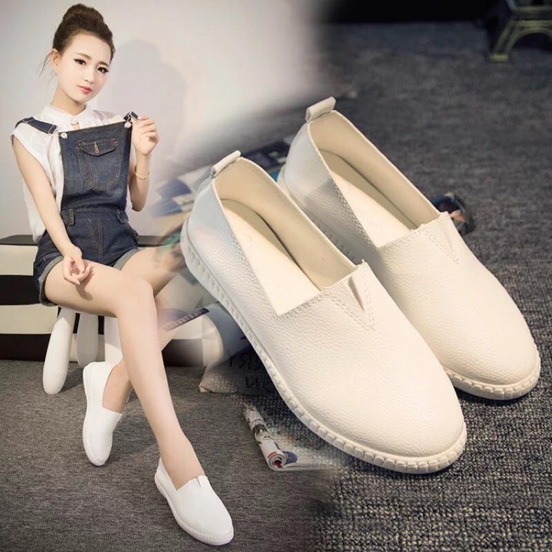 樂福鞋小白鞋懶人鞋學生厚底平底休閒鞋單鞋