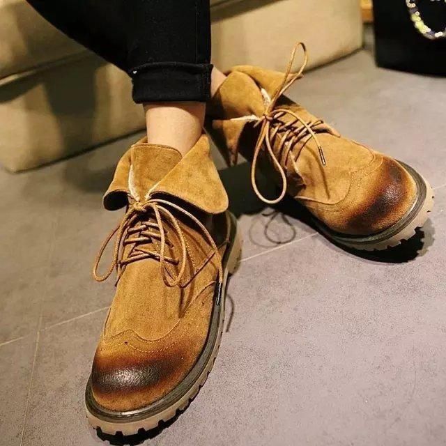 ♛♛♛♛♛♛n 磨砂皮馬丁靴女士粗跟女靴短靴子復古布洛克系帶春秋單靴女鞋