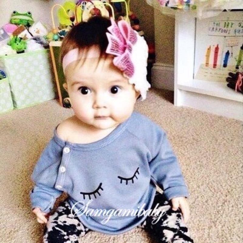 曈曈Baby ins 爆款女童秋裝套裝印花睡睛睛可愛 純棉套裝