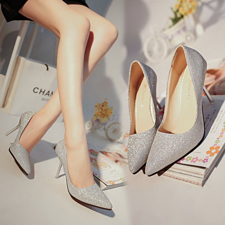 尖頭金色銀色高跟鞋細跟性感亮片女鞋淺口ol 工作鞋女單鞋婚鞋