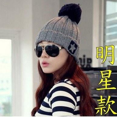 韓國明星款同款反折星星球球毛線帽五角星毛球帽毛巾貼布毛帽子K484