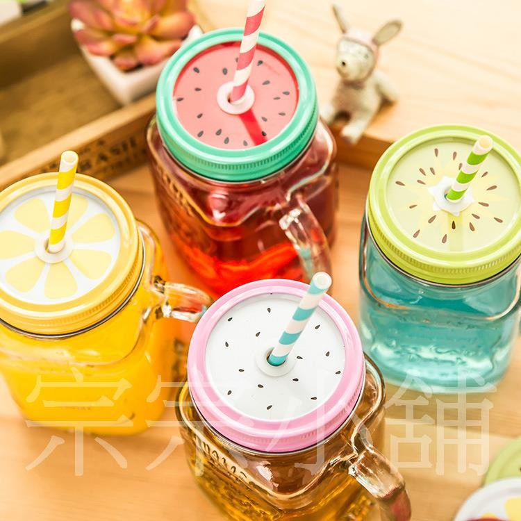 宗宗小舖 透明色梅森瓶雙蓋500ml 玻璃瓶夏日果汁飲料透明杯有蓋有吸管玻璃水杯