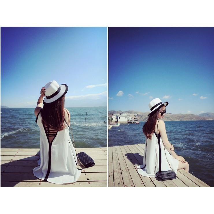 ~ ~泳衣罩衫~後背綁帶上衣式外穿海邊無袖泳衣罩衫白