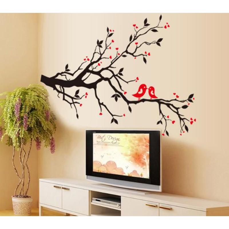 ~心築壁貼~~AY7179 相愛相隨~小鳥情侶樹枝愛心樹第 壁貼