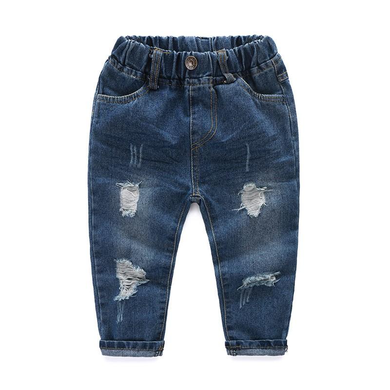 寶寶長褲復古風破洞款男童牛仔褲兒童褶皺休閒褲子