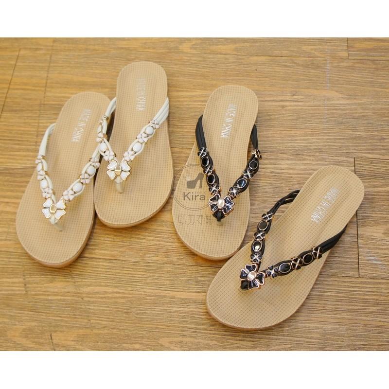 小資女孩看過來浪漫花瓣寶石小軟墊夾腳拖鞋