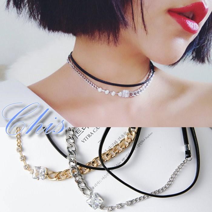 Chis Store ~水鑽粗細鍊條雙層頸鍊~韓國多層次皮革 鎖鏈 小鑽頸圈項圈短項鍊鎖骨