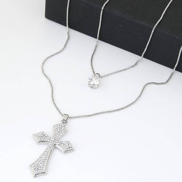 甜美閃鑽十字架雙層氣質長款項鍊毛衣鏈