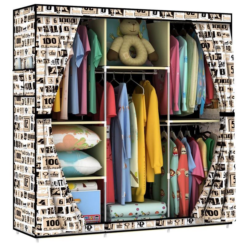 大容量簡易布衣柜 折疊組裝加固衣櫥一件代發包郵HBY140404F 2