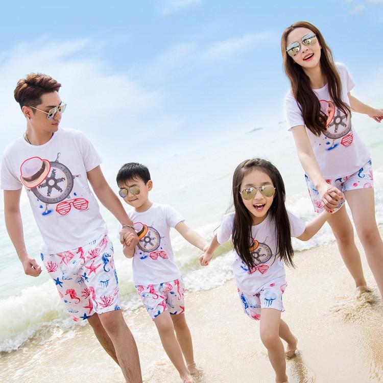 沙灘親子裝 品牌全家裝一家三四口純棉套裝母女母子父子套裝