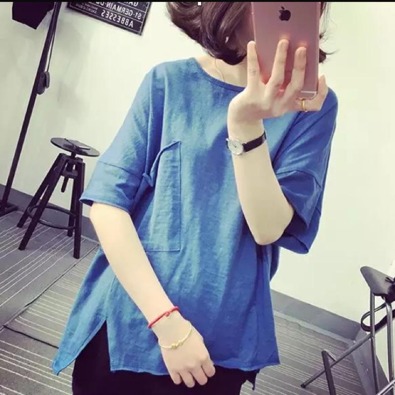 女裝 寬鬆慵懶風圓領套頭不規則純色竹節棉短袖T 恤潮