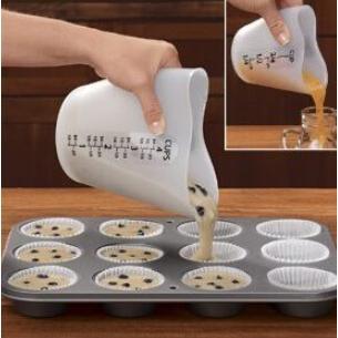 ~vivi 烘焙~加厚500ml 矽膠量杯耐熱量杯烘培軟量杯愛心形可樂餅機雞蛋糕煎餅鬆餅機