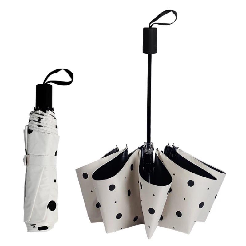 簡約點點晴雨傘自動傘黑膠晴雨傘三折傘