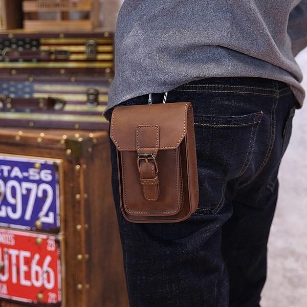 瘋馬皮煙包5 寸手機包男包 潮流男士腰包休閒小包 皮包