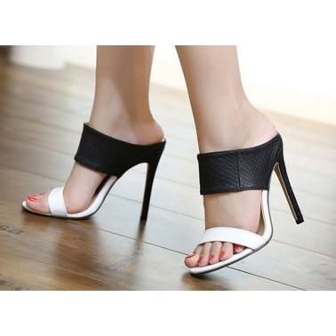 Kwoomi 黑白撞色寬面細跟高跟鞋晚宴鞋新娘鞋涼鞋