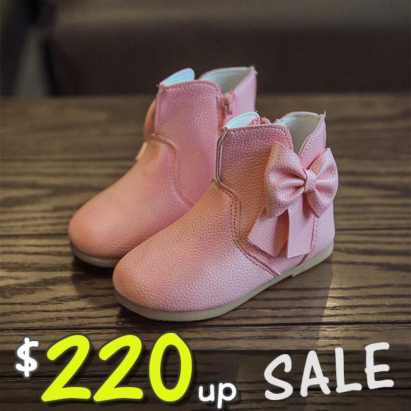 饅頭家女童短靴3 7 歲蝴蝶結軟底公主皮靴3 色~5L536 ~