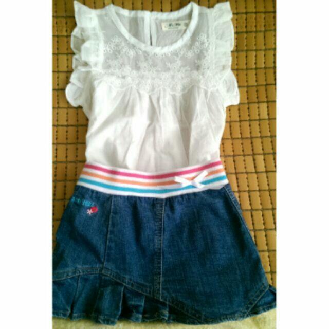 美國品牌skechers 12M 寶寶刺繡 牛仔裙