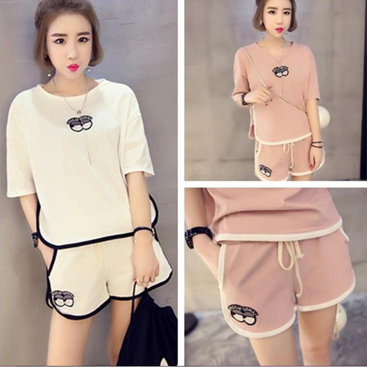 96 甜心L023 中大 韓國 寬鬆圓領 貼布短袖短褲休閒套裝