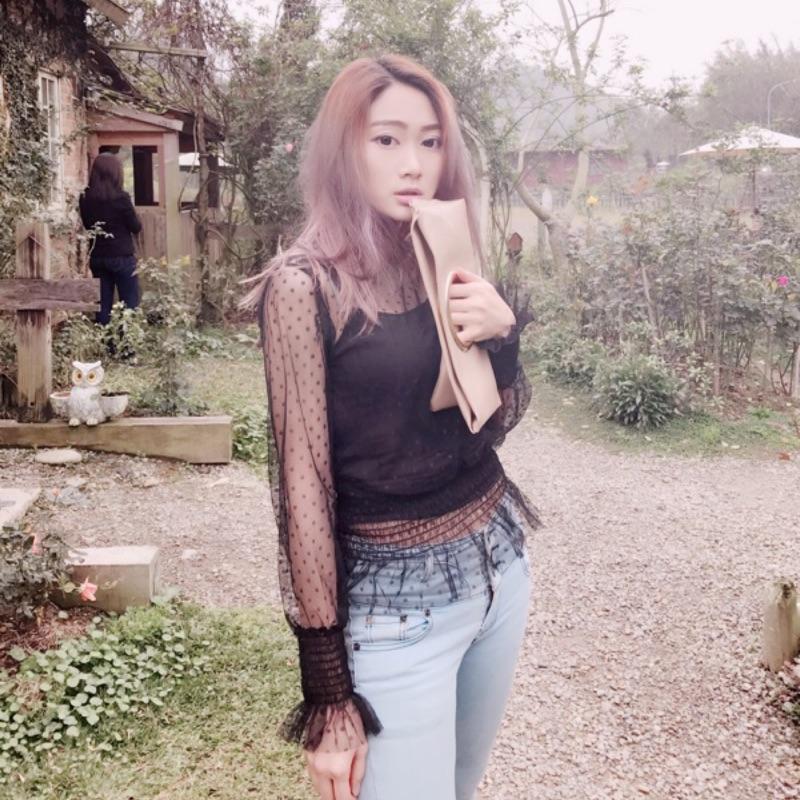 ❤️ ❤️春夏 兩件式荷葉邊立領網紗透視上衣縮腰喇叭袖氣質甜美韓系日系背心蕾絲優雅點點