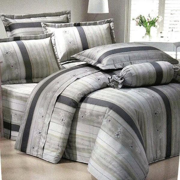 免 精梳棉單人雙人加大特大薄床包鋪棉床包 精緻典雅花研灰粉
