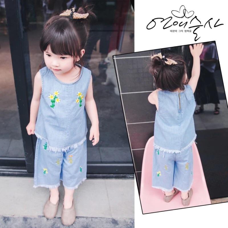 蓁誠 女寶女童兒童寶寶小童甜美花朵刺繡毛鬚邊無袖圓領背心上衣寬褲闊腿褲牛仔褲套裝