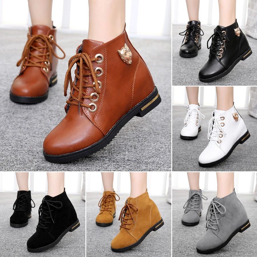 短靴子女靴 英倫馬丁靴平底單靴中跟內增高學生短筒靴女鞋