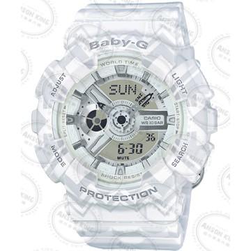 國外 CASIO BABY G BA 110TP 7A 圖騰白雙顯防水手錶腕錶情侶錶