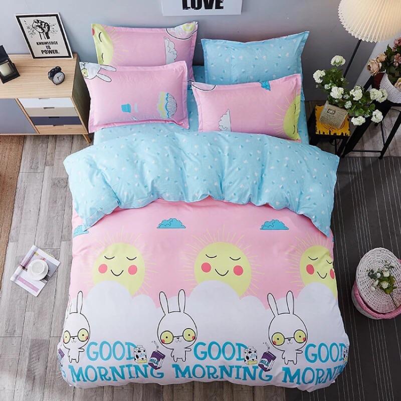 ! !粉紅萌兔小兔子豹紋多款棉質雙人床包床單四件組