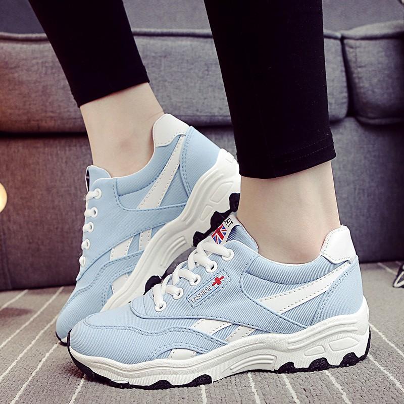2016 韓國ulzzang 鞋女 女鞋透氣網面跑步鞋學生厚底增高鞋娃娃鞋豆豆鞋休閒鞋懶人