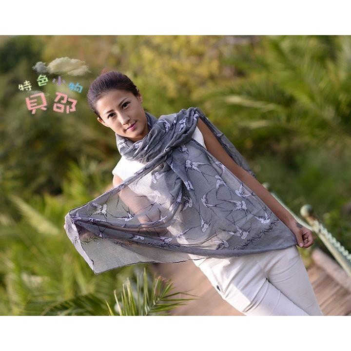 都市風鶯歌燕舞綿柔圍巾百搭款 保暖防曬披肩絲巾空調毯圍脖87296