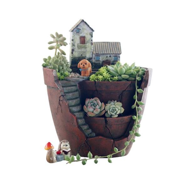 ~小薇花藝工坊~Zakka 盆器系列~ 美式鄉村復古空中花園花盆~盆栽花盆多肉植物