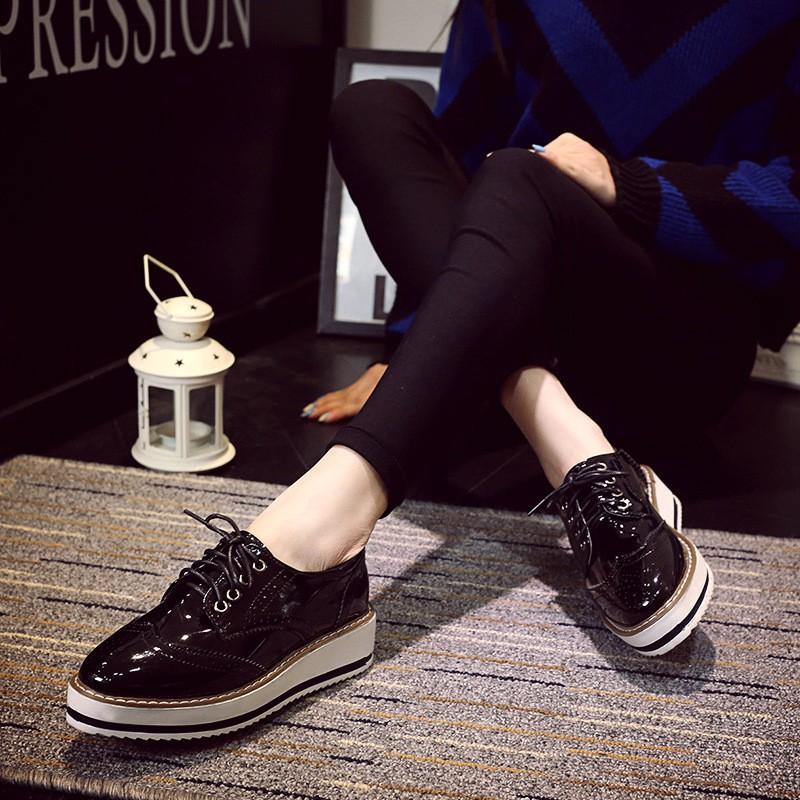 英倫風布洛克雕花鞋3 26 牛津鞋坡跟厚底鞋休閒女鞋