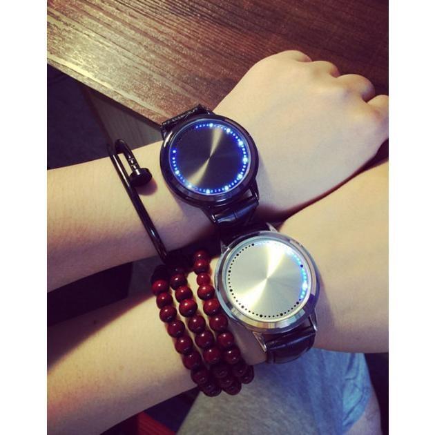 创意 智能觸控真皮帶簡約防水LED 觸摸屏觸屏手錶男女情侶