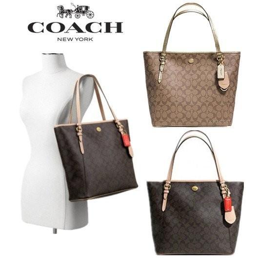 買到賺到COACH 28365 咖啡pvc C Logo 肩背托特包防刮防水女包