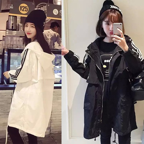 風衣女中長款休閒寬鬆顯瘦上衣黑白連帽百搭學生外套2 色S XL