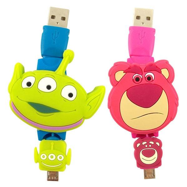 【Disney 】Micro USB 伸縮傳輸線三眼怪熊抱哥