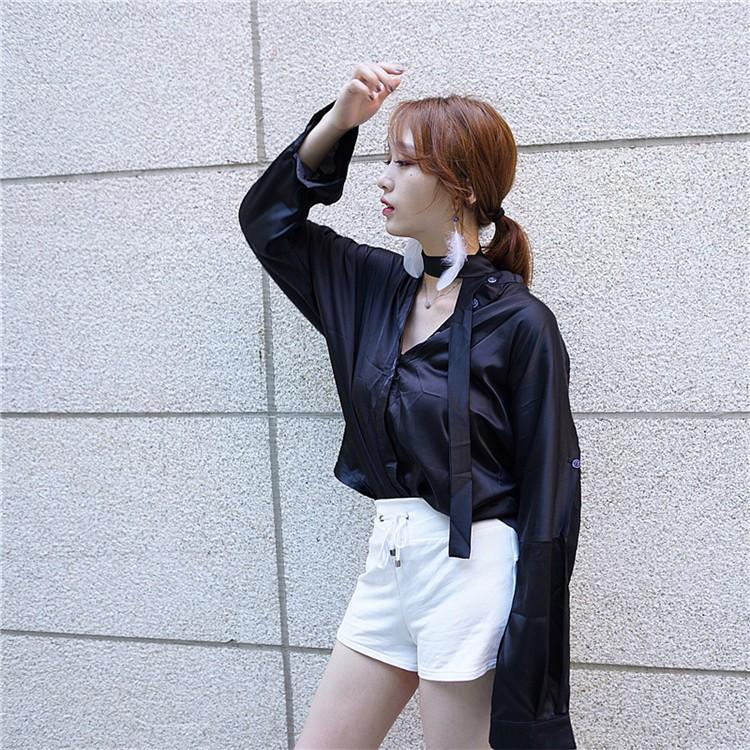 實拍繽紛夏日 百搭絲質襯衫純色氣質長袖上衣女生襯衫