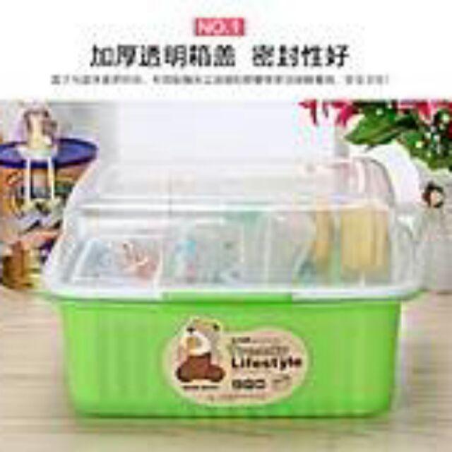 奶瓶收納盒研磨器乾燥儲存翻蓋大號嬰幼兒餐具箱奶瓶架保管箱