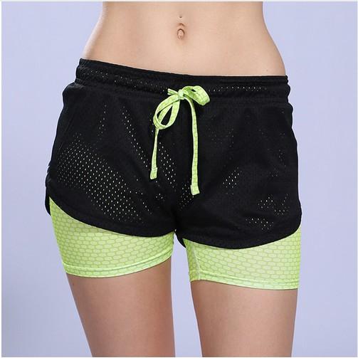 女子瑜伽跑步短褲假2 件速乾2 層馬拉松 健身短褲