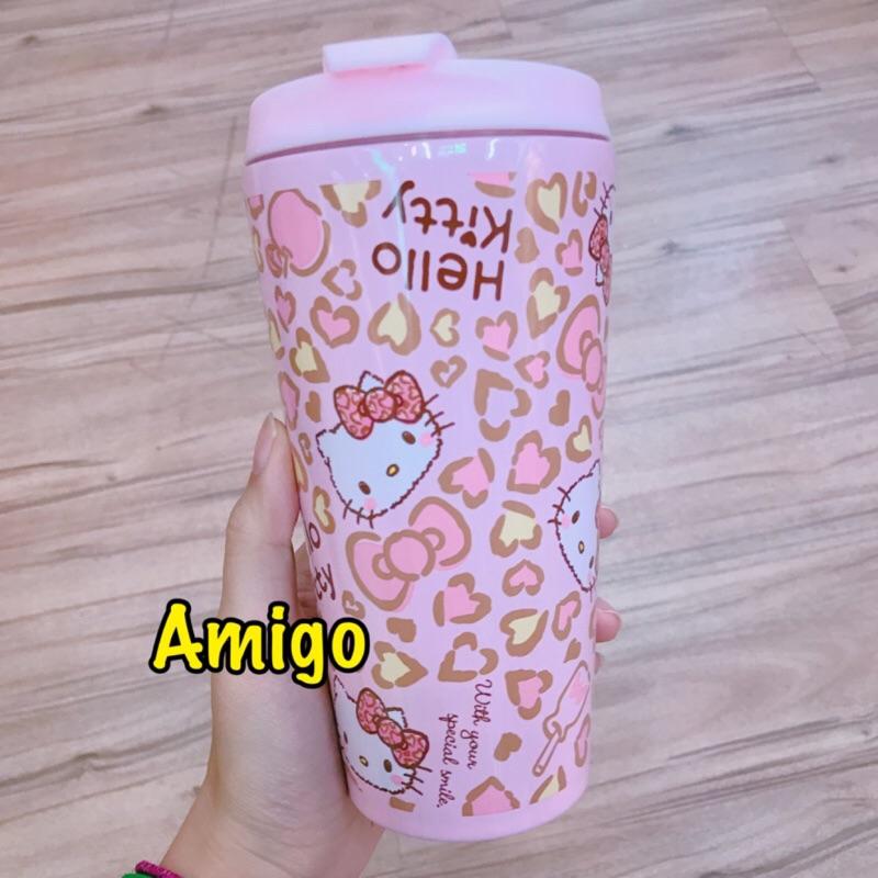 三麗鷗kitty 粉紅蝴蝶結豹紋保溫杯保溫瓶水杯隨手杯隨身杯環保杯