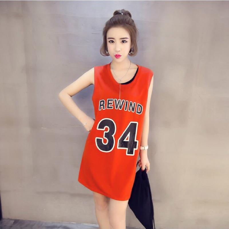 數字無袖t 恤長版學院寬鬆籃球服中長背心裙女