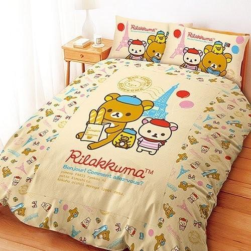 San X  系列~Rilakkuma 拉拉熊巴黎篇~單人雙人床包組被套涼被兩用被鋪棉被套