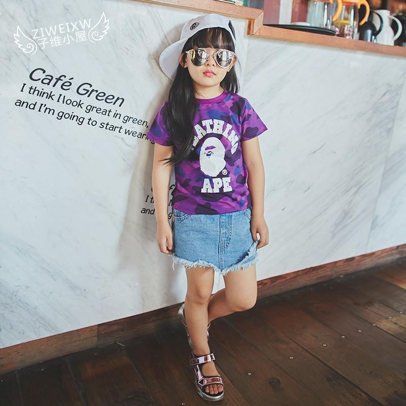 2016  男童女童百搭迷彩短袖T 恤衫寶寶兒童打底衫